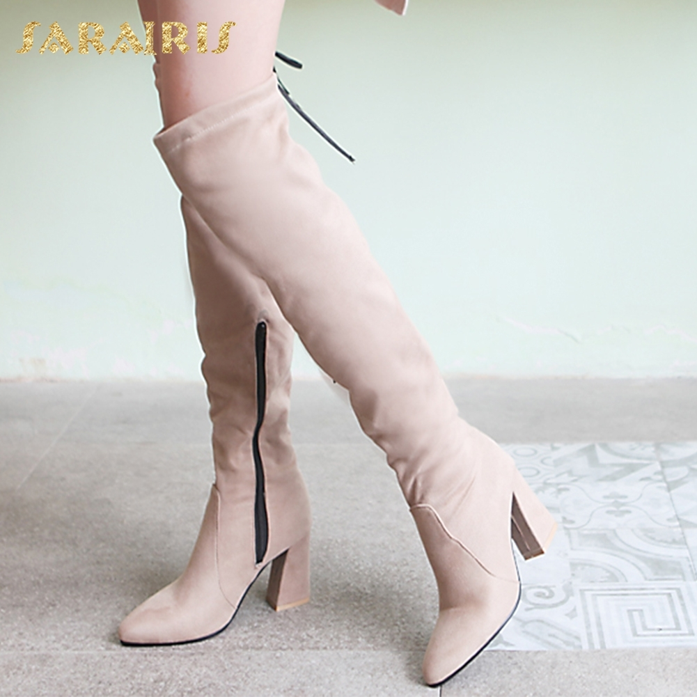 SARAIRIS 2018 fashion plus Size 32-50 Sexy elegant over-the-knee Boots Trendy High Heels women's Shoes Top Quality Woman Boots plus size floral off the shouler asymmetric top