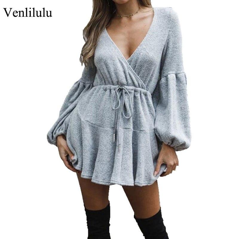 2019 Sexy Autumn Long Sweater Dress Women Long Sleeve V-Neck Sweater Winter Knitted Sweater Long Sweater Women Female Pullover