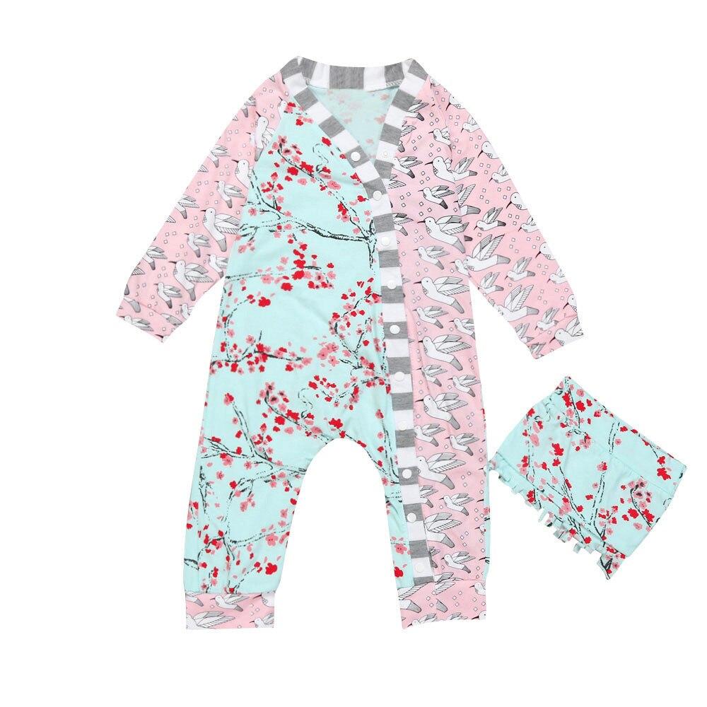 LONSANT Bodysuit Newborn Baby Girls Clothes Floral Bodysuit Jumpsuit Sunsuit Outfits Set Dropshipping Wholesale ...