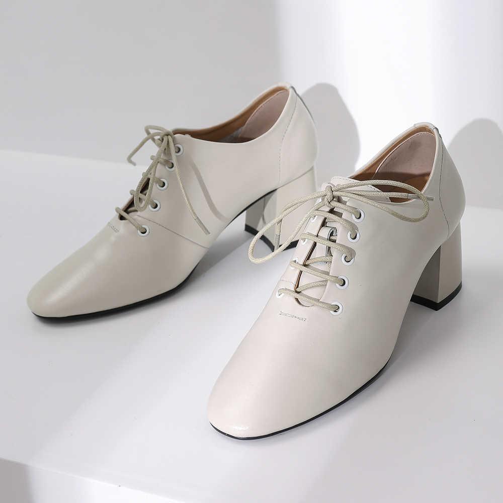 ANNYMOLI Vrouwen Derby Schoenen Hoge Hakken Natuurlijke Echt Leer Dikke Hoge Hakken Office Lady Schoenen Real Leather Lace Up Pompen 4 39