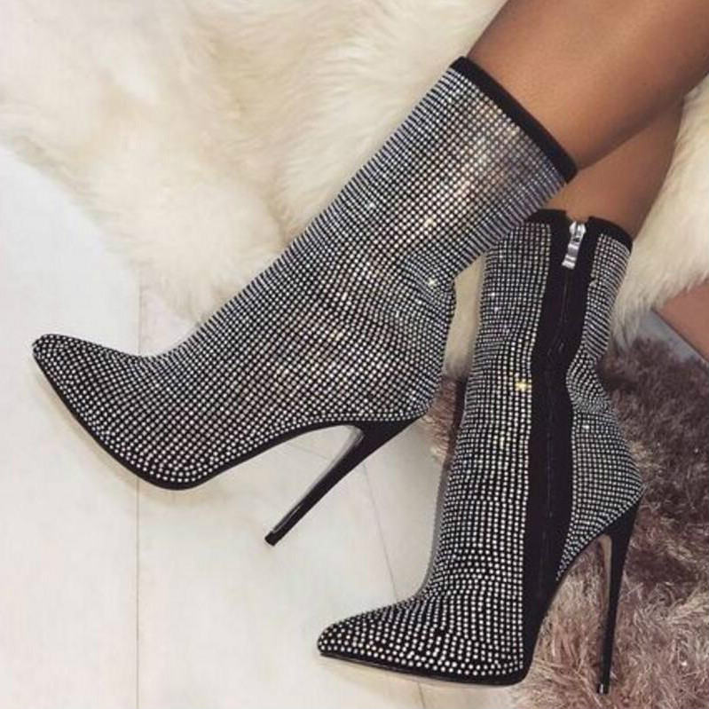 c1723a6f780 zapatos mujer sapato women boots ankle ladies chaussure thin high heels  pumps rome booties shiny crystal shoes woman XZ180517