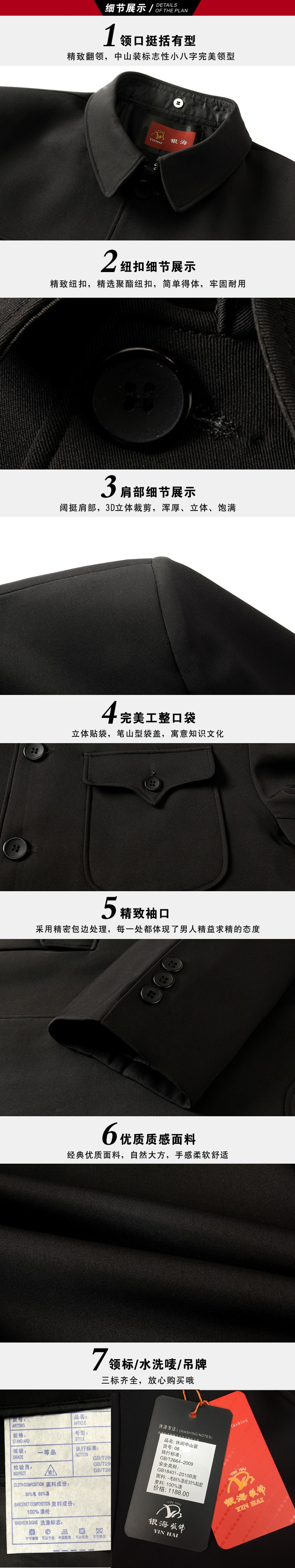 Spring Chinese Ethnic Mens Black Mao Suit Jackets  Mandarin Wing Collar Blazers Tunic Suit Elegant Zhongshan Coat For Man (5)