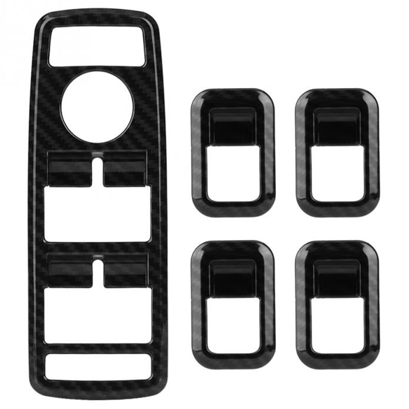 5Pcs Car Auto Carbon Fiber Window Switch Button Trim Cover Frame For Mercedes Benz A B C E Cla Gla Glk Ml Gle Class W204