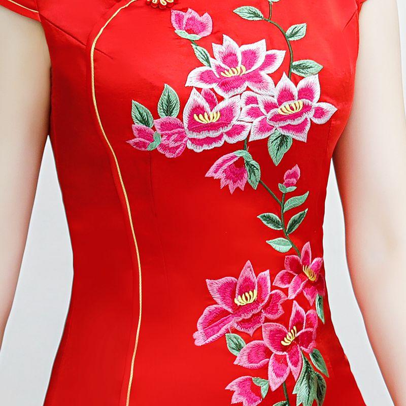 Rayonne Robe Dames 2018 Élégant blanc Longue Col Style Cheongsam Mandarin Chinois Rose Robes Partie rouge Mince Qipao D'été Nouvelle Femmes C5BBwqv