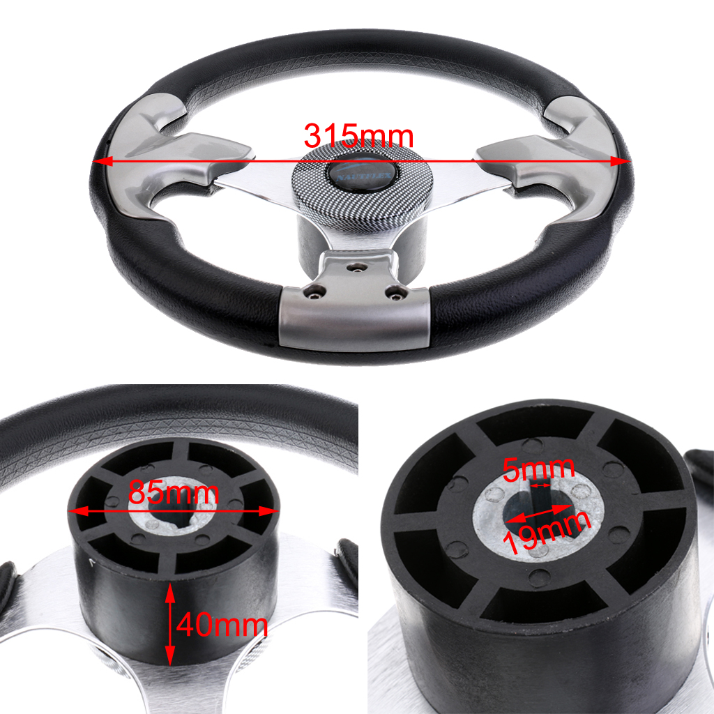 Image 5 - Boat Accessories marine 315mm Aluminum Alloy Marine Boat Pontoon Steering Wheel 3 Spoke Fits 3/4' Shaft-in Marine Hardware from Automobiles & Motorcycles