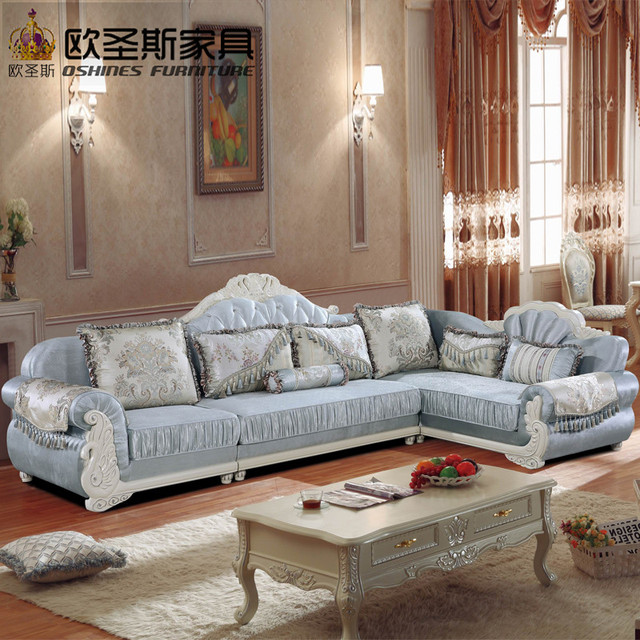 Luxury L Shaped Sectional Living Room Furniutre Antique Europe Design Clical Corner Wooden Carving Fabric Sofa Sets 511