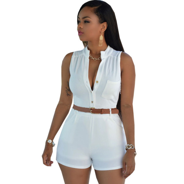 c85d18b6c858 Casual Summer Women Jumpsuit 2017 Short Playsuit Rompers Deep V Neck  Sleeveless Button Bodysuit Bodycon Jumpsuits Overalls Woman
