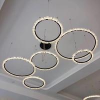 LICAN Postmodern Circle Rings Chandelier Home Lamp DIY Suspendor Hanging Lights For Hotel Villa Big Chandelier