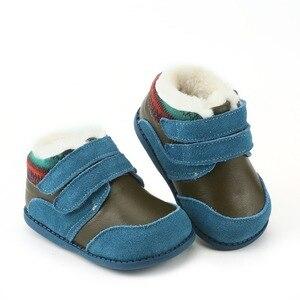 Image 2 - Tipsietoes冬子供靴革マーティン子供雪カウボーイブーツ男の子ファッションスニーカーボタブーツティス