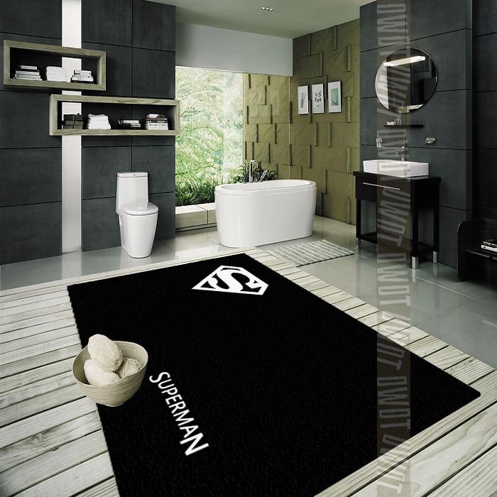 Black White Carpet Superman Mat Handmade Fashion Parlor Hallway