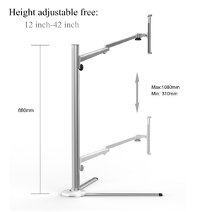 Image 2 - Rotação ajustável do braço do suporte do sofá da cama do telefone móvel da altura de alumínio do suporte do assoalho da tabuleta para o ar do iphone x ipad pro mini 7 13 polegadas