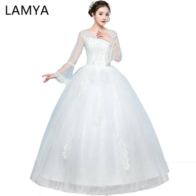 LAMYA Plus Size Vintage Wedding Dresses 2018 Lace Full Flare Sleeve ...