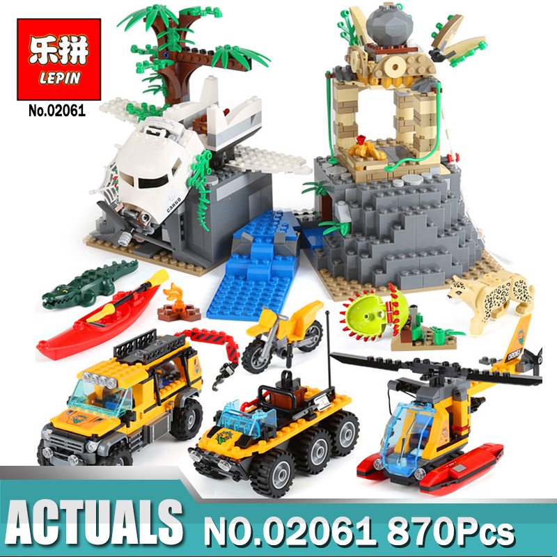 Lepin 02061 City Series The Jungle Exploration Site Set Building Blocks Compatible Legoing 60161 Brick Toy as Children DIY Gift a toy a dream lepin 24027 city series 3 in 1 building series american style house villa building blocks 4956 brick toys