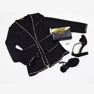 Image 5 - SHEIN noir élégant Highstreet ouvert avant effiloché bord solide mode veste 2018 automne bureau dame femmes manteau et vêtements dextérieur