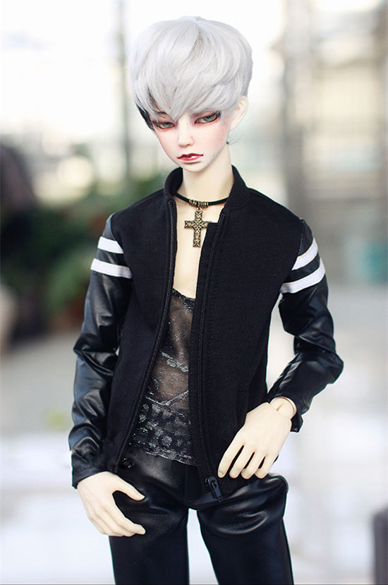 BJD doll clothes black Hoody with 2 white stripes casual jointed coat for 1/3 1/4 BJD DD SD MSD SD17 Uncle doll baseball tops  BJD doll clothes black Hoody with 2 white stripes casual jointed coat for 1/3 1/4 BJD DD SD MSD SD17 Uncle doll baseball tops