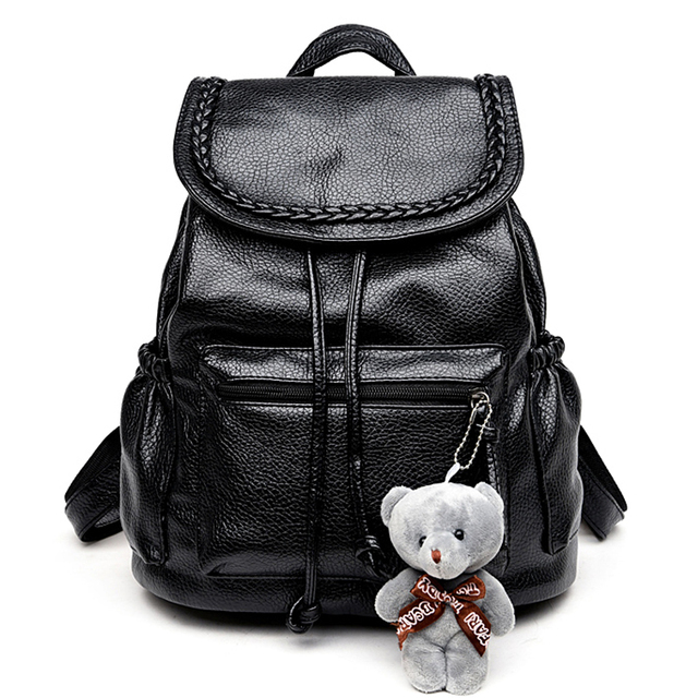 Korean Fashion Travel Backpack Black Women Backpacks Leisure Student Schoolbag Soft PU Leather Women Bag Cute Backpacks for Girl