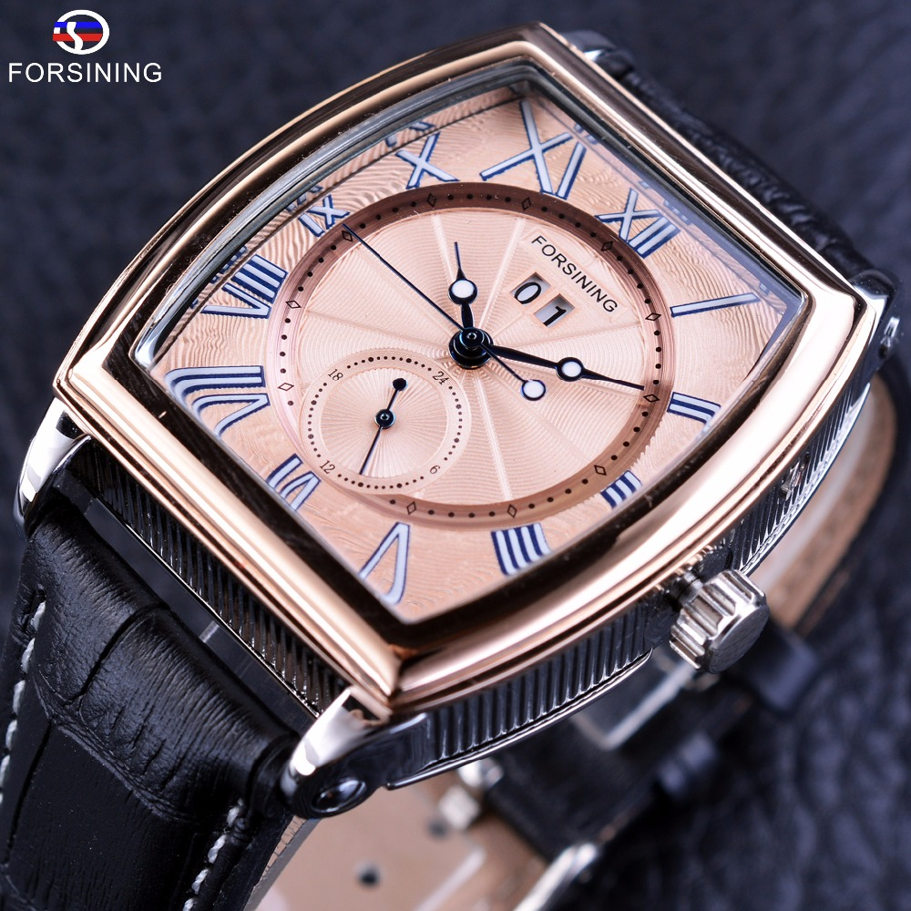Forsining Luxury Shanghai Movement Waterproof Calendar Minimalist Design Genuine Leather Mens Automatic Watches Top Brand Luxury forsining 3d skeleton twisting design golden movement inside transparent case mens watches top brand luxury automatic watches