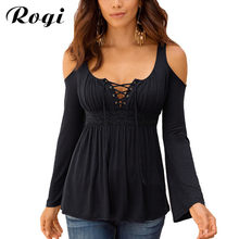 Rogi Plus Size Women's Blouses Shirts 2018 Sexy Off Shoulder Lace Up Bandage Shirt Long Sleeve Female Ladies Tops Blusas Mujer(China)