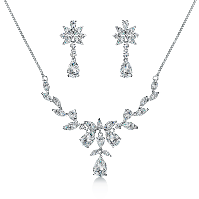 WEIMANJINGDIAN Brand Elegant Teardrop and Flower Cubic Zirconia CZ Crystal Necklace and Earring Bridal Jewelry Set