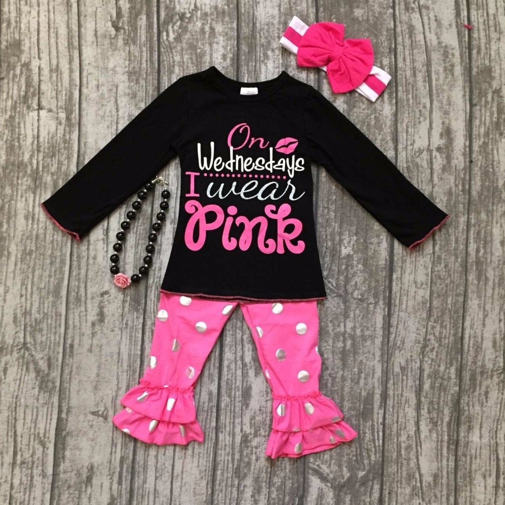 baby girls fall winter children clothes on Wednesday I wear pink cotton black top with gold