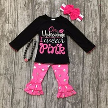 baby girls fall/winter children clothes on Wednesday I wear pink cotton black top with gold dot pant outfits with accessories