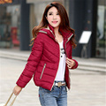 2016 New Autumn and Winter Coat Slim Women Short Cotton Padded Jacket Solid Hooded Outerwear Parkas Female WY426
