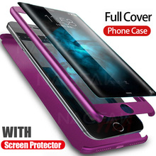NAGFAK 360 Degree Full Cover Phone Case For iPhone 7 8 6 6s Plus Tempered Glass Protective Cover For iPhone 6 6s 7 8 Plus Case