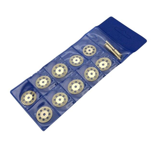 Sıcak! 10 adet Dremel aksesuarları 20mm elmas Dremel kesme diski Metal taşlama diski için daire testere matkap döner aracı
