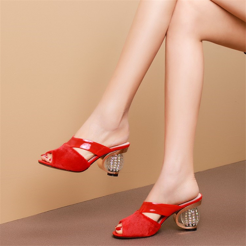 Sexy Sandals Mules Genuine-Leather Heels Summer Shoes Woman Ladies New Dilalula Horsehair