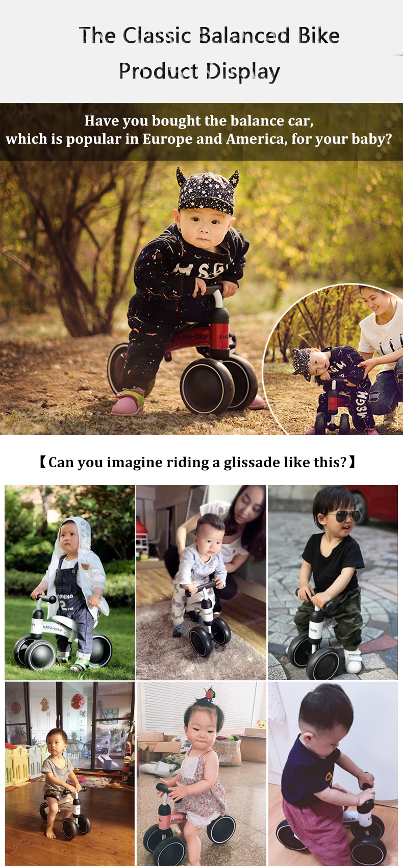 HTB1O2 OlvJNTKJjSspoq6A6mpXas New brand children's bicycle balance scooter walker infant 1-3years Tricycle for driving bike gift for newborn Baby buggy