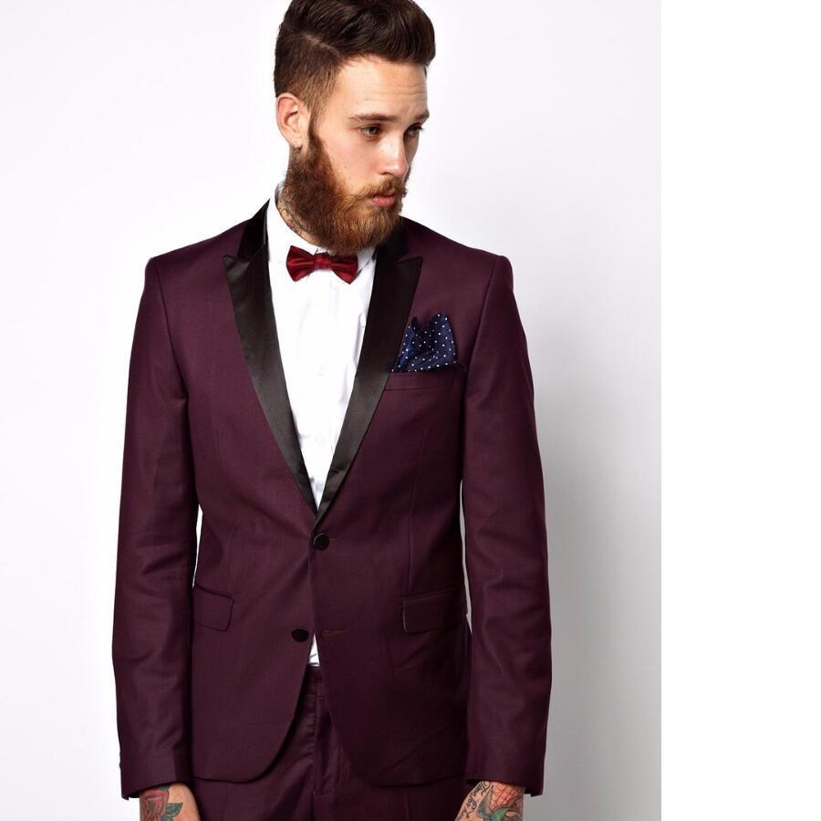 Online Shop Italian Style Burgundy Groom Tuxedos Black Lapel Mens ...