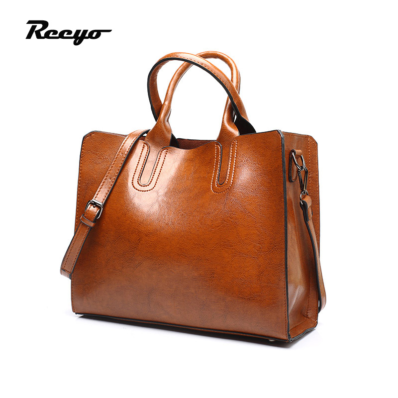 Hot Sale Women Handbag PU Oil Wax Leather Ladies Bags Female Simple Totes Brand Shoulder Bag Free Shipping