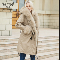 BEIKALIDI Women Real Rex Rabbit Fur Parkas Women's Winter Coat With Real Fox Fur Collar Hooded Real Fur Coat Female Overcoat