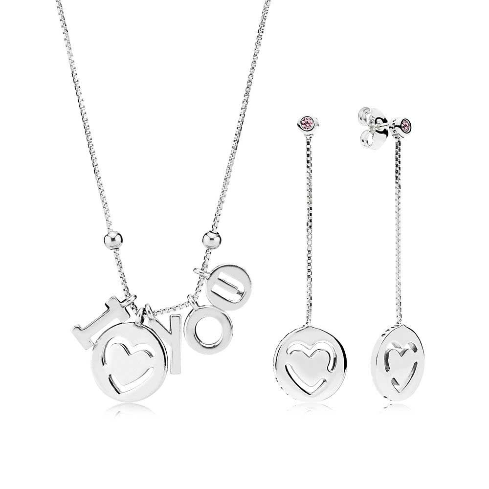 EDELL 2018 100% 925 Sterling Silver I Love You Necklace and Earring Gift Set fit charm original NECKLACE jewelry A Set