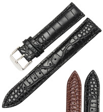 Купить с кэшбэком Lizard Snake Grain Calf Skin Leather 16 18 19 20 22 mm Men's  Women Watches Straps Black Brown Band Bracelet Belt Watchband