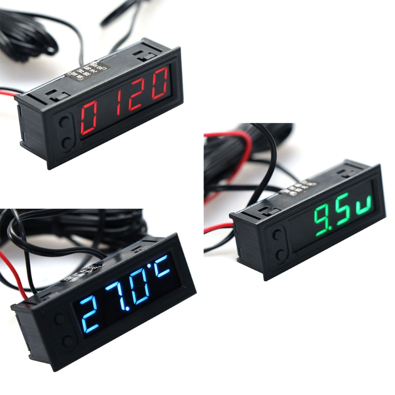 DIY Multifunction Clock Car Temperature Battery Voltage Monitor Voltmeter DC 12V #0616 3 in 1 multifunctional car digital voltmeter usb car charger led battery dc voltmeter thermometer temperature meter sensor