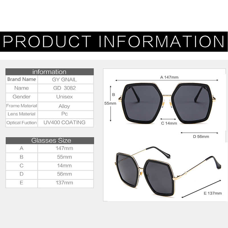 93a06d913f45 ... GYsnal Luxury Brand Design Sunglasses Women oversized Square sun glasses  big frame Mirror Sunglass for Female ...