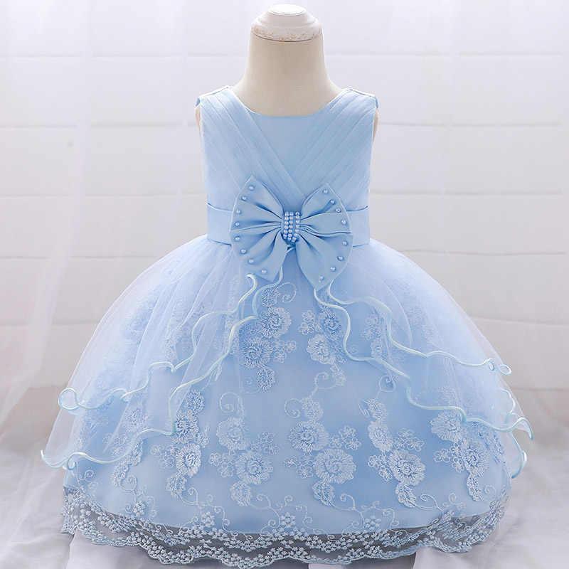 ทารกแรกเกิดเสื้อผ้าเด็กฤดูร้อนชุดเดรสสำหรับสาวBeaded Bow First Birthday Partyเด็กดอกไม้ลูกไม้Tutuเครื่องแต่งกาย