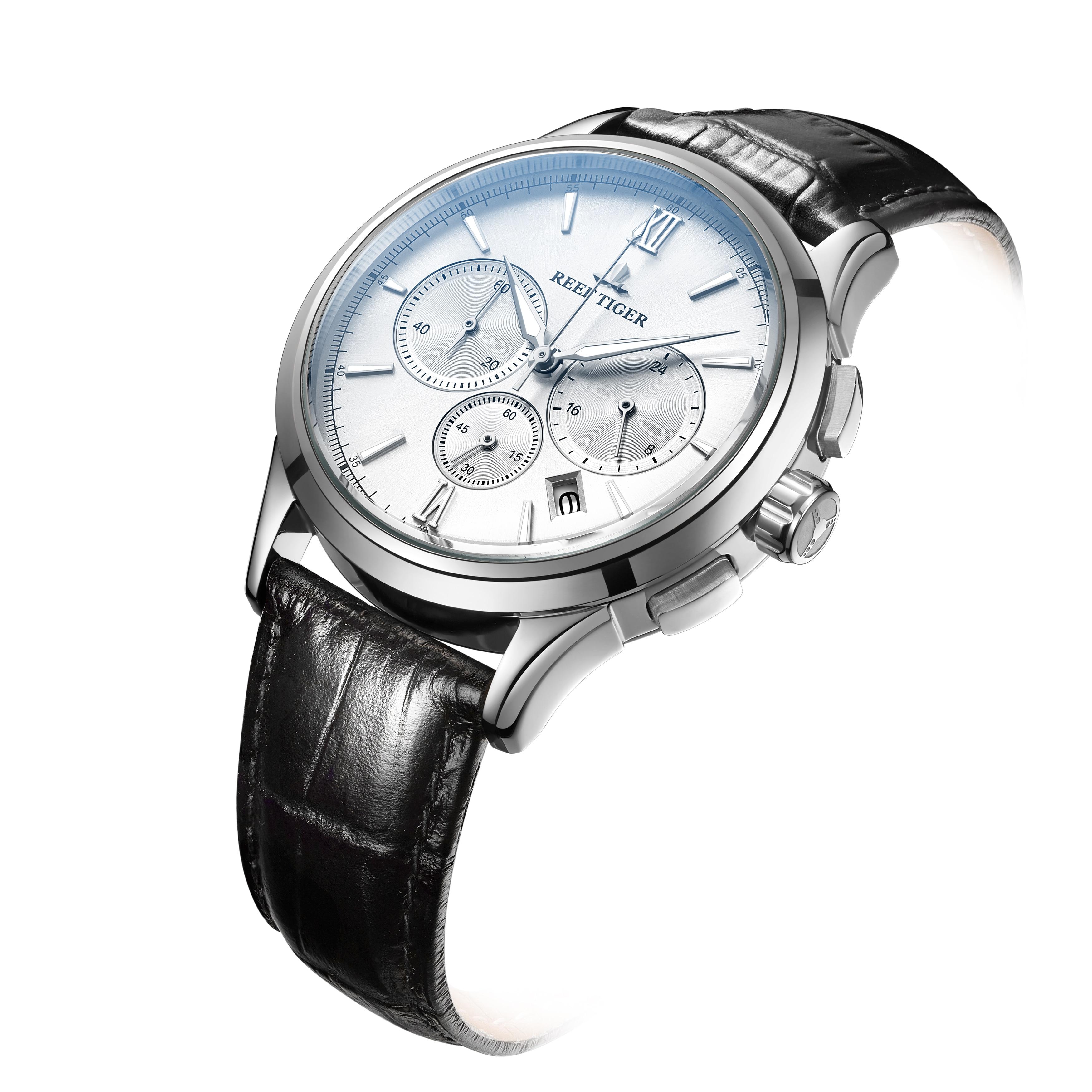 Récif tigre/RT marque de luxe montre Date cadran blanc étanche en acier inoxydable montre à Quartz montre bracelet en cuir RGA1669 - 3