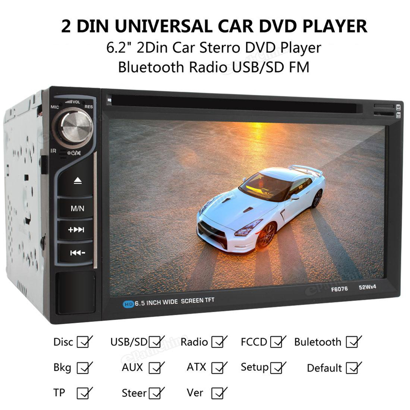 2 DINs Car In Dash FM Radio Receiver Bluetooth DVD CD Player of F6076B 6.2 inch Touch Screen  with Wireless Remote Control free shipping car refitting dvd frame dvd panel dash kit fascia radio frame audio frame for 2012 kia k3 2din chinese ca1016