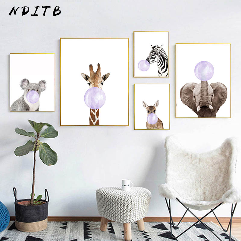 NDITB Baby Animal Zebra Giraffe Deer Bubble Canvas Art Painting Nursery Poster Print Wall Picture For Children Living Room Decor