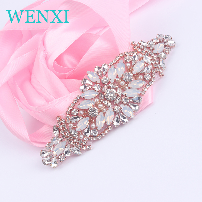 WENXI 5PCS Handmade Protein Beaded Sewing Bridal Sash Crystal Silver Clear Rhinestone Applique For Wedding Dress Belt WX856