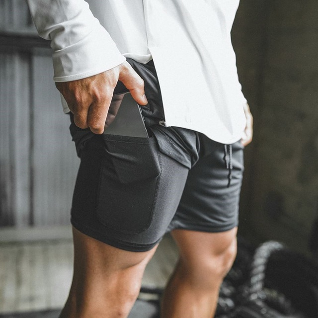 Mens Secure กระเป๋ากางเกง 2 ชั้นออกกำลังกายฟิตเนส Elastic เอวสั้น Quick drying Breathable 2 in 1 Joggers กางเกงขาสั้น