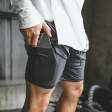 Mens Secure Pocket Shorts 2 Layers Workout Fitness elastic waist Short Quick drying Breathable 2 in 1 Joggers shorts