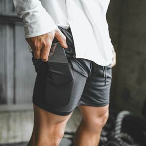 Secure-Pocket-Shorts Quick-Drying Fitness Elastic-Waist 2-Layers-Workout Mens 2-In-1