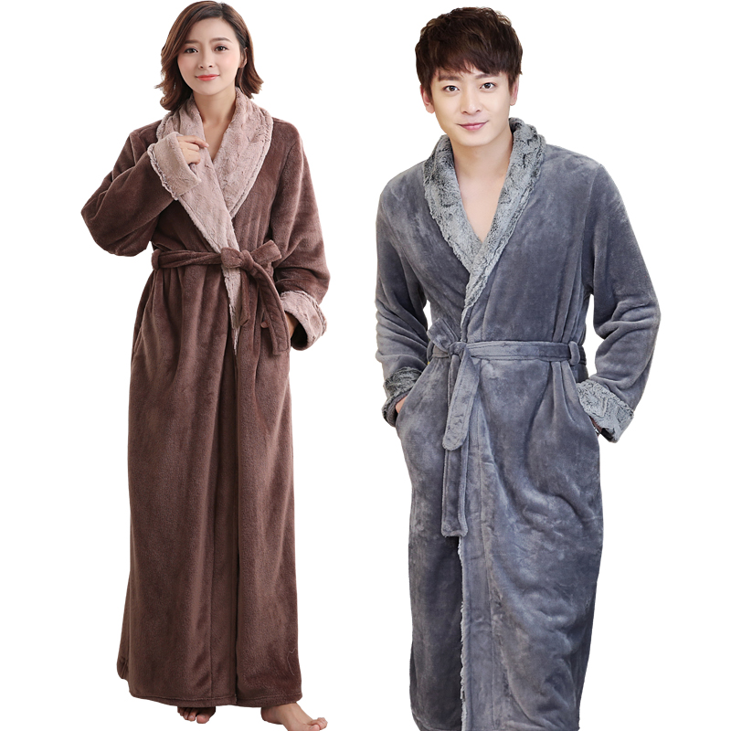 Lovers Soft fur Extra Long Thermal Bathrobe Men Plus Size Thick Flannel  Warm Kimono Bath Robe Male Dressing Gown Winter Robes 6bbb5cad7