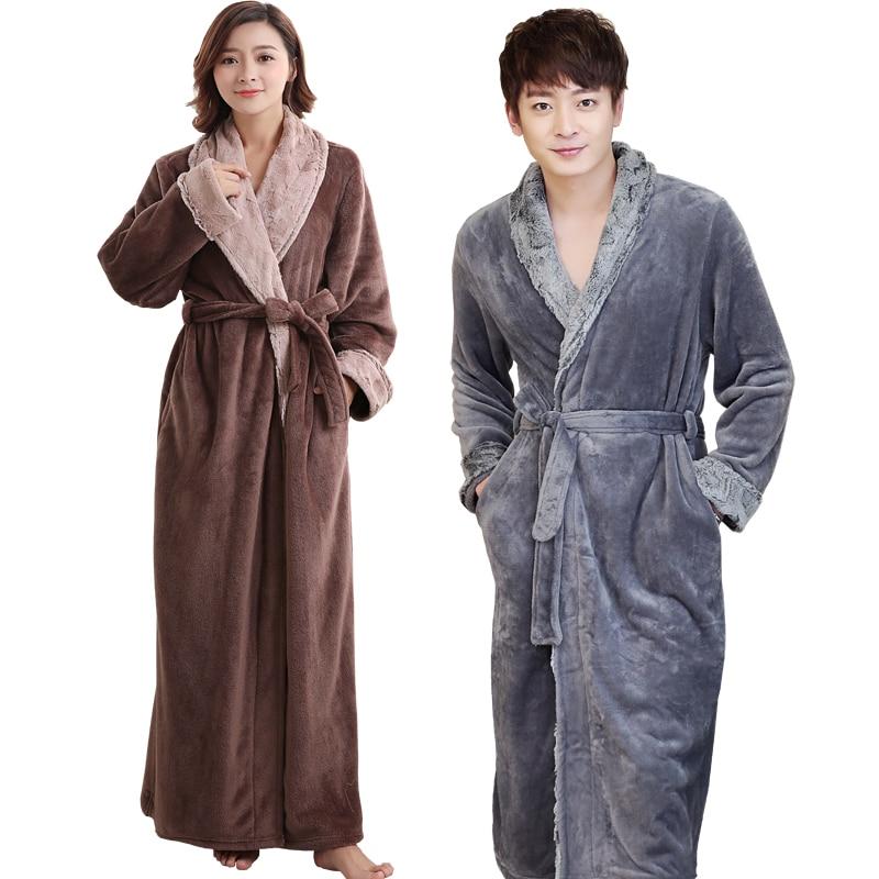 580b82c873 Lovers Soft fur Extra Long Thermal Bathrobe Men Plus Size Thick Flannel  Warm Kimono Bath Robe Male Dressing Gown Winter Robes