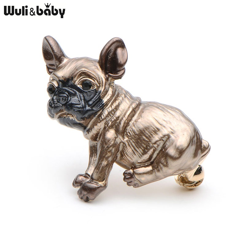 Brown Bull Dog Animal Prossid Banquet Vintage Hõbedane Roheline Kristall Silm Tsink Alloy Quality Suits Broches Pins Scarf Buckle