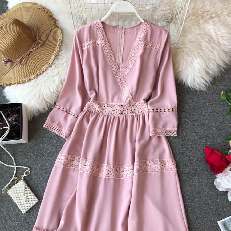 Women Bohemian Dress Lady Half Sleeve V Neck Red and White Beach Holiday Elegant Vestidos E152 9