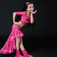 New Design Kids Girls belly dancing Costumes dancing Set Dress Top+Skirt dancing Suits Clothes for kids children S/M/L size